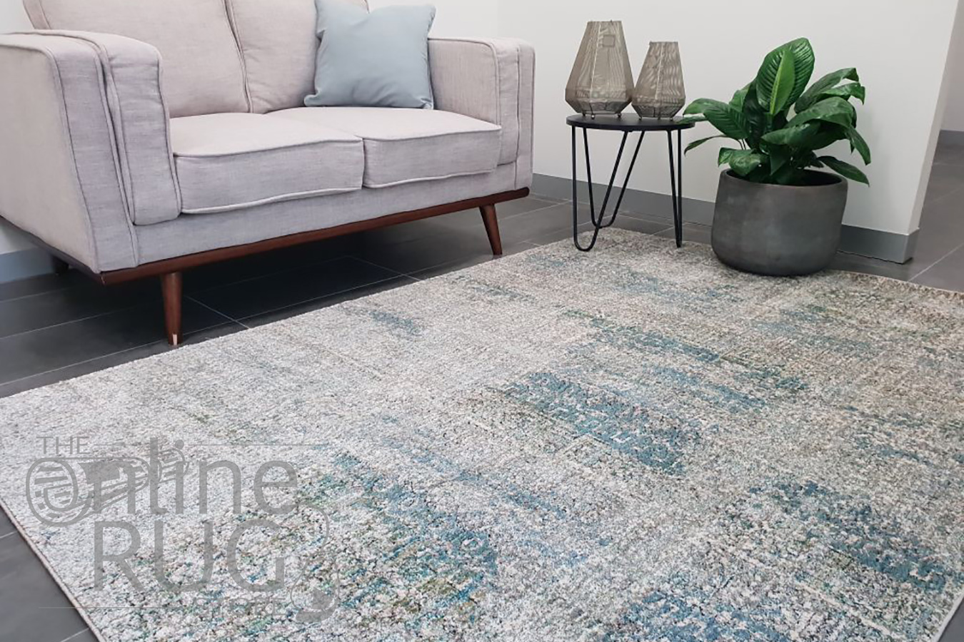 Bella Blue Distressed Vintage Rug