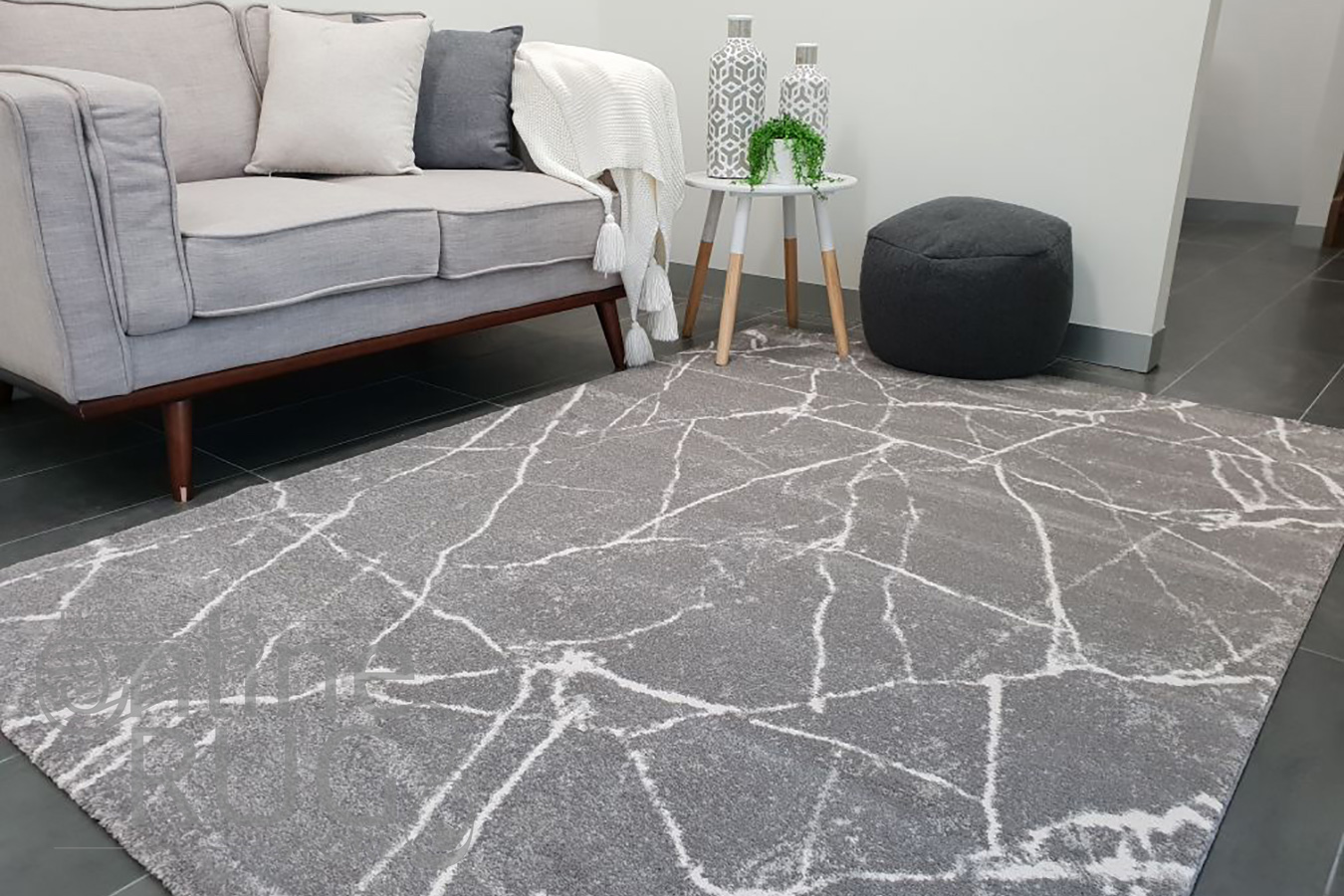 Sienna Grey Abstract Lines Rug