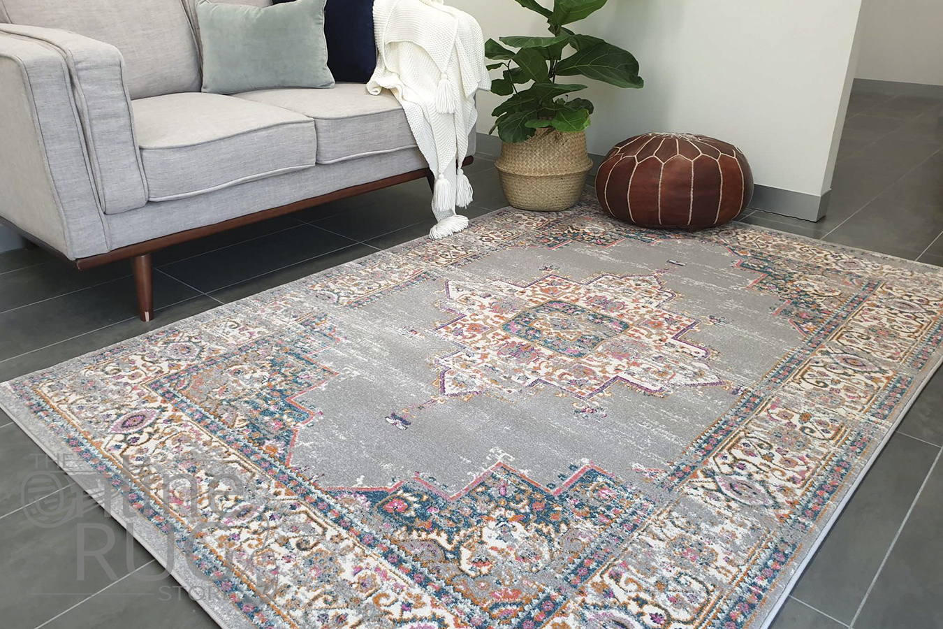 Blake Grey Medallion Transitional Rug