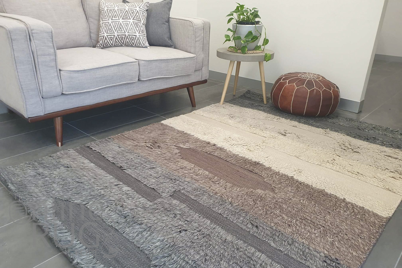Boho Brown Grey Bohemian Wool Rug