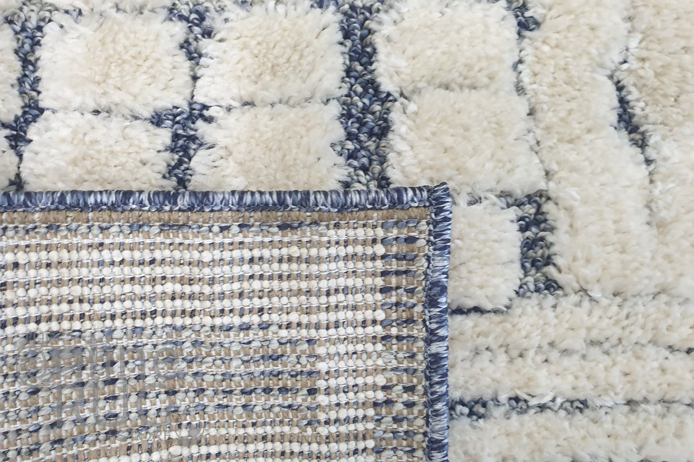 Chloe Blue White Abstract Lines Textured Rug